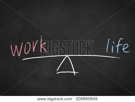 work life balance concept on a blackboard background