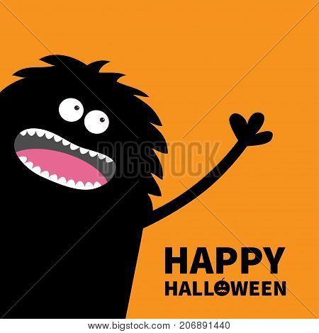 Screaming monster silhouette in the corner looking up. Eyes teeth tongue spooky hands. Black Funny Cute cartoon baby character. Happy Halloween pumpkin text. Flat Orange background. Vector
