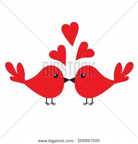 Two kissing birds. Three red heart set. Happy Valentines Day. Love Greeting card. Cute cartoon character set. Flat design. White background. Isolated. Vector illustration