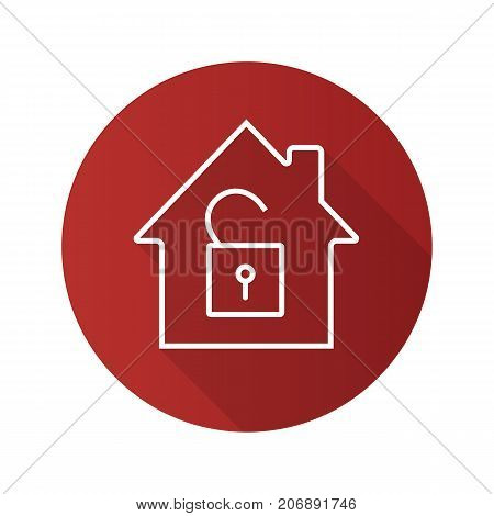 Unlocked house flat linear long shadow icon. Home protection. House with open padlock. Vector outline symbol