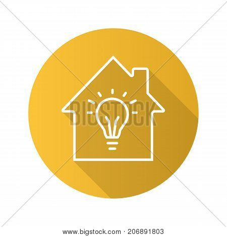 Home electrification flat linear long shadow icon. House with light bulb inside. Vector outline symbol