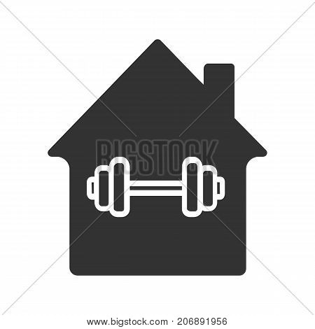 Home sport training glyph icon. Silhouette symbol. House with gym barbell inside. Negative space. Vector isolated illustration