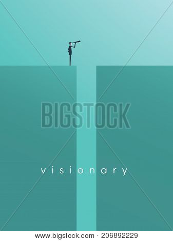 Vision concept in business with vector icon of businessman and telescope, monocular. Symbol leadership, strategy, mission, objectives. Eps10 vector illustration.