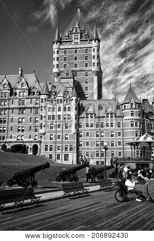 Scenic view of Chateau Frontenac and Dufferin terrace in Quebec city, in Canada