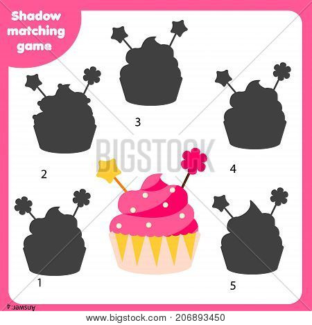 Shadow matching game for children. Find the right shadow. Activity for preschool kids with cupcake
