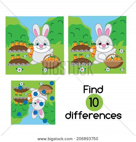 Find the differences educational children game with answer. Kids activity sheet with rabbit in the garden. Animals theme