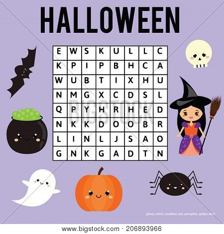 Word search puzzle kids activity sheet. Halloween theme. Find words children educational game. Learning vocabulary