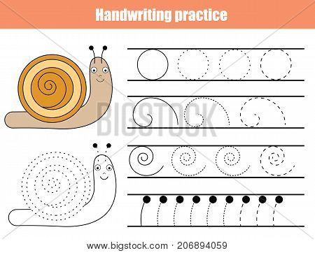 Handwriting practice sheet. Educational children game printable worksheet for kids. Writing training printable worksheet with spirals and cartoon snail