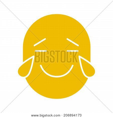 Smile with tears of joy glyph color icon. Happy crying emoticon. Silhouette symbol on white background. Negative space. Vector illustration