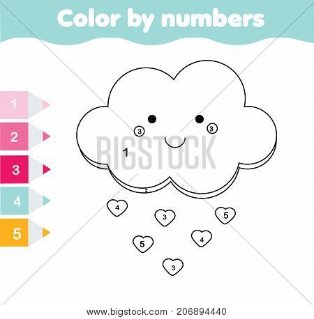 Children educational game. Coloring page with cute cloud. Color by numbers printable activity worksheet for toddlers and pre school age