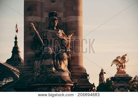 Alexandre III bridge with sculpture in Paris, France.