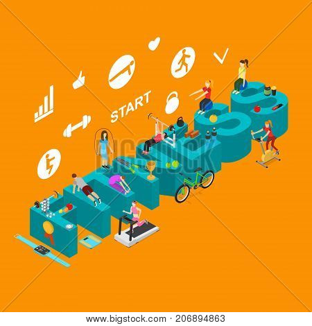 Fitness Start Workout Training Concept Isometric View Exercise Sport Activity People in Club for Presentation and Promotion. Vector illustration of Fit