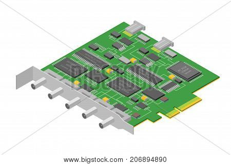 Computer Electronic Circuit Board Component Pc Industry Engineering Isometric View Digital Technologies Green Panel with Connection Line . Vector illustration