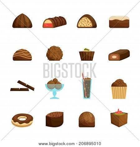 Chocolate Sweets Set Include of Candy, Dessert, Donut, Cake and Muffin . Vector illustration of Chocolaty Sweet Food with Topping