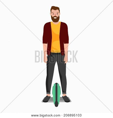 active peoples fun with electric scooter, family on segway new modern technology hoverboard, man woman and child self balance wheel transport gyroscooter ride the street vector illustrator.