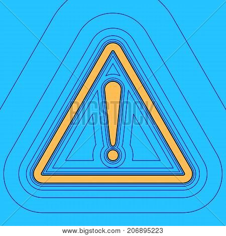 Exclamation danger sign. Flat style. Vector. Sand color icon with black contour and equidistant blue contours like field at sky blue background. Like waves on map - island in ocean or sea.