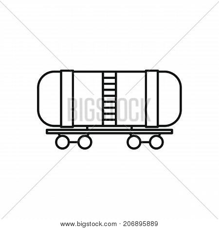 Railway wagon oil icon. Black outline illustration of Railway wagon oil vector icon for web isolated on white background