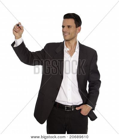 Man is holding Pen in his Hand