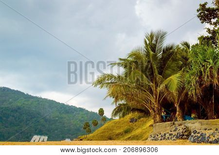 Beautiful Beach With Granite Rocks And Palm Trees On A Cloudy Day On Sunset