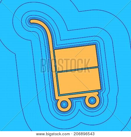 Hand truck sign. Vector. Sand color icon with black contour and equidistant blue contours like field at sky blue background. Like waves on map - island in ocean or sea.