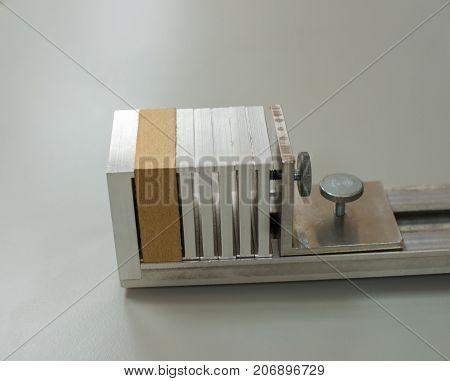 A Sample Of Mdf (medium Density Fibreboard) Prepared For Laboratory Test.