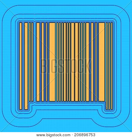 Bar code sign. Vector. Sand color icon with black contour and equidistant blue contours like field at sky blue background. Like waves on map - island in ocean or sea.