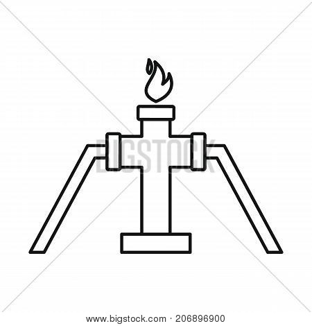 Gas in pipe icon. Black outline illustration of Gas in pipe vector icon for web isolated on white background