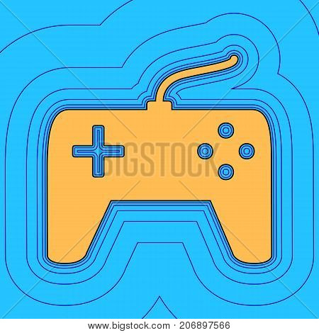 Joystick simple sign. Vector. Sand color icon with black contour and equidistant blue contours like field at sky blue background. Like waves on map - island in ocean or sea.