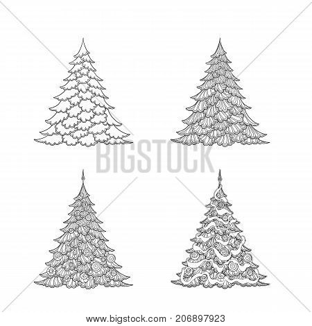 Set of Christmas trees. Good for coloring page for the adult coloring book. Stock vector illustration.