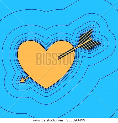 Arrow heart sign. Vector. Sand color icon with black contour and equidistant blue contours like field at sky blue background. Like waves on map - island in ocean or sea.