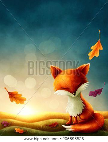 Little red fox in autumn