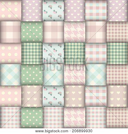 Imitation of geometric patchwork pattern. Interweaving ribbons. Seamless vector background.