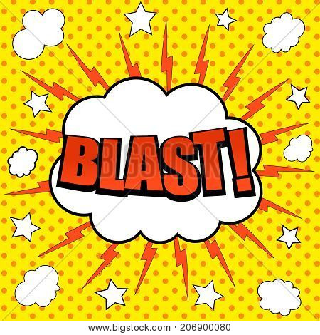 Comic Blast wording background with speech bubble, white clouds, stars and lightning effects on yellow dotted background. Vector illustration