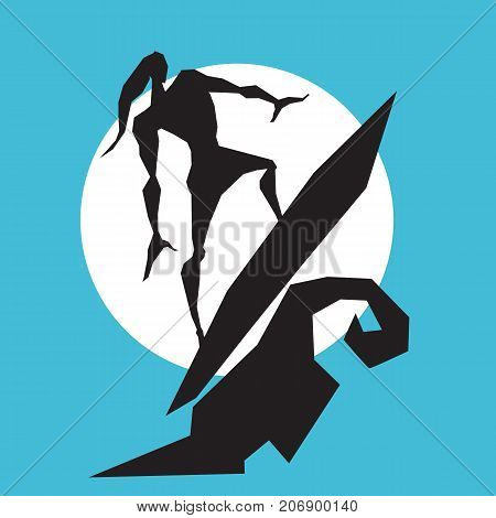 Surfer man on the wave. Prints for T-shirts. Vector illustration.