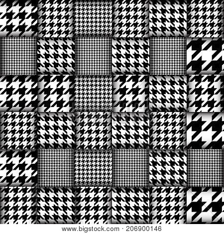Imitation of geometric patchwork pattern. Interweaving ribbons. Seamless vector background. Geometrical Hounds-tooth pattern in patchwork style,
