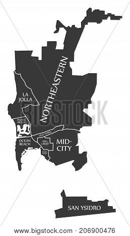 San Diego City Map Usa Labelled Black Illustration