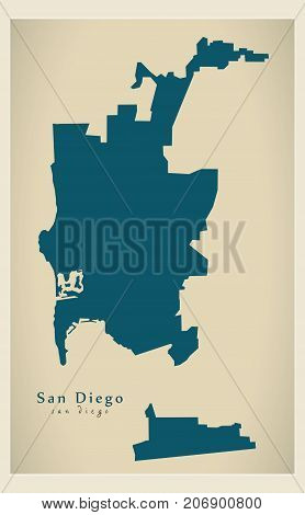Modern Map - San Diego City Of The Usa