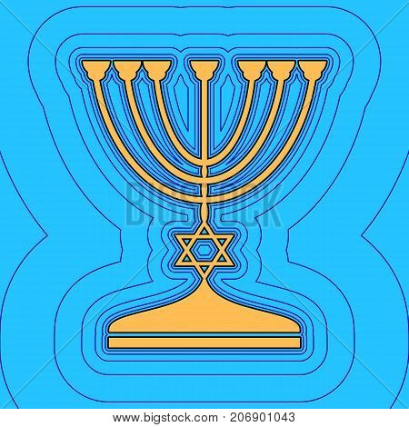 Jewish Menorah candlestick in black silhouette. Vector. Sand color icon with black contour and equidistant blue contours like field at sky blue background. Like waves on map - island in ocean or sea.