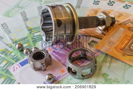 Constant-velocity Joints Against The Background Of Euro Banknotes