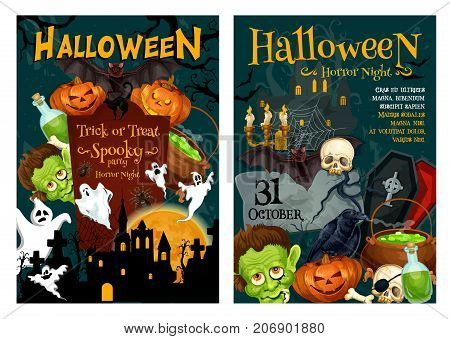 Halloween horror night party poster set. Scary ghost, Halloween pumpkin and bat, spider, creepy skeleton skull and black cat, haunted house, zombie and graveyard frame for autumn holiday banner design