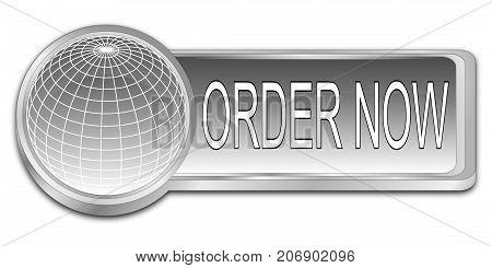 decorative silver Order now dash Button - 3D illustration