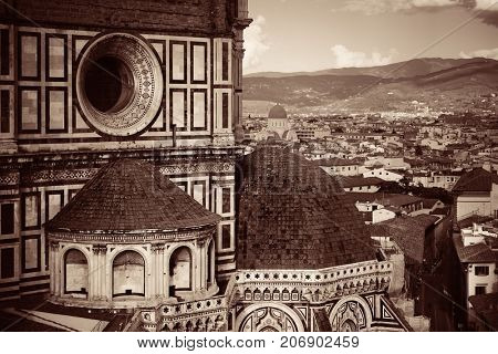 Duomo Santa Maria Del Fiore in Florence Italy closeup view black and white.