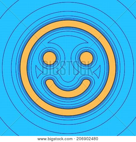 Smile icon. Vector. Sand color icon with black contour and equidistant blue contours like field at sky blue background. Like waves on map - island in ocean or sea.