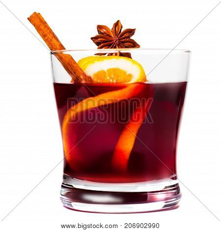 Christmas mulled wine isolated on white background. Red Hot  wine or gluhwein