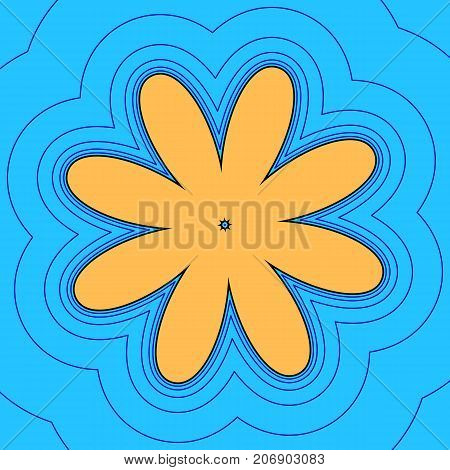 Flower sign illustration. Vector. Sand color icon with black contour and equidistant blue contours like field at sky blue background. Like waves on map - island in ocean or sea.