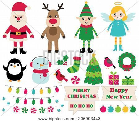 Christmas cartoon design elements set (Santa, elf, snowman, angel and more)