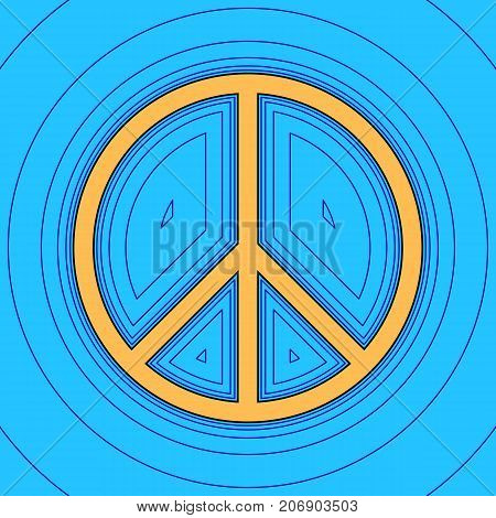 Peace sign illustration. Vector. Sand color icon with black contour and equidistant blue contours like field at sky blue background. Like waves on map - island in ocean or sea.
