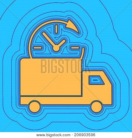 Delivery sign illustration. Vector. Sand color icon with black contour and equidistant blue contours like field at sky blue background. Like waves on map - island in ocean or sea.