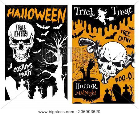 Halloween horror trick or treat night poster of spooky monsters for horror holiday celebration design. Vector Halloween pumpkin lantern, skeleton skull or and witch death coffin on tombstone grave