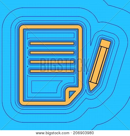 Paper and pencil sign. Vector. Sand color icon with black contour and equidistant blue contours like field at sky blue background. Like waves on map - island in ocean or sea.
